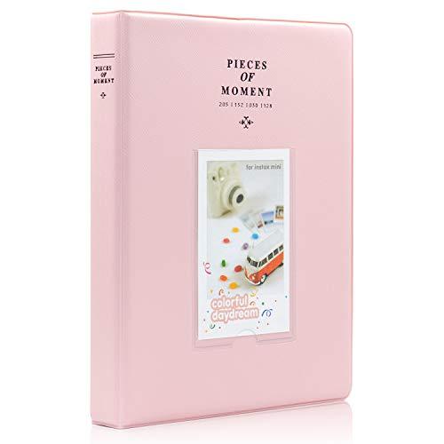 Ablus 128 Pockets Mini Photo Album for Fujifilm Instax Mini 7s 8 8+ 9 25 26 50s 70 90 Instant Camera & Name Card (Pink)