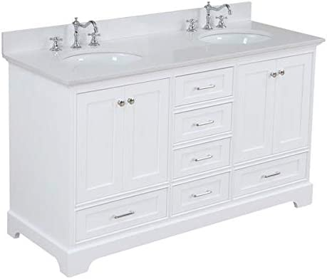 Harper 60-inch Double Bathroom Vanity Quartz/White : Includes White Cabinet