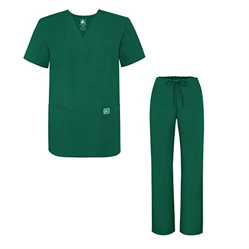 (Adar Universal Medical Scrubs Set Medical Uniforms - Unisex Fit - 701 - HGR - XL Hunter Green)