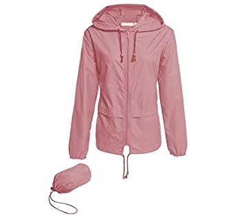 Hount Women's Lightweight Hooded Raincoat Waterproof Packable Active Outdoor Rain Jacket (Pink, S)