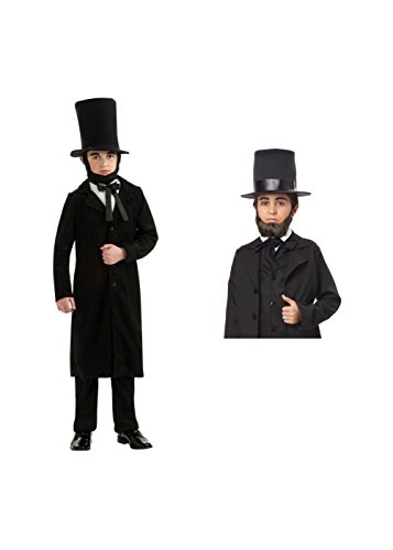 [Abraham Lincoln Boys Costume And Beard (Medium)] (Kids Abraham Lincoln Costumes Kit)