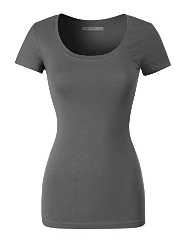 (Design by Olivia Women's Basic Solid Casual Deep Scoop Neck Short Sleeve T-Shirt Charcoal 3XL)