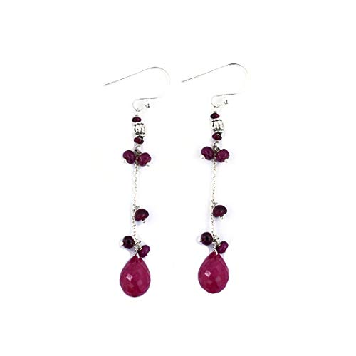 (skyjewels Certified Ruby Gemstone Beads Dangler Earrings in 925 Sterling Silver)