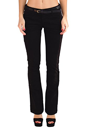 Stretch Dress Boot (Bebop Women's Bootcut Pant, Black, Size 7, Stretch Cotton Twill, Removable Belt)