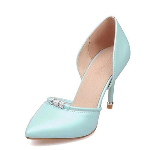 Negro Zapatos Mujer Azul Tacón de Suede Aguja Rosa Comfort PU Poliuretano Verano Pink de Talones ZHZNVX de OqdvxE6q