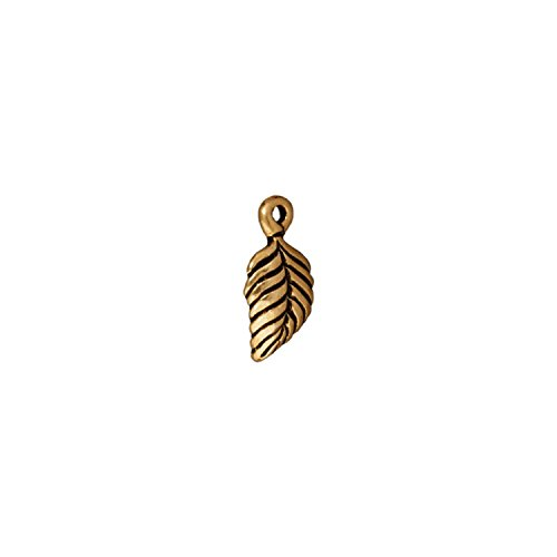 TierraCast Charm Birch Leaf, 15mm, Antique 22K Gold Plated Pewter, - Charms Antique Plated Gold