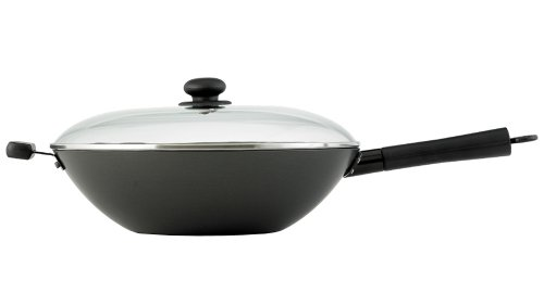 (Helen Chen's Asian Kitchen 14-inch Excalibur Nonstick Lidded Wok Stir Fry Pan)