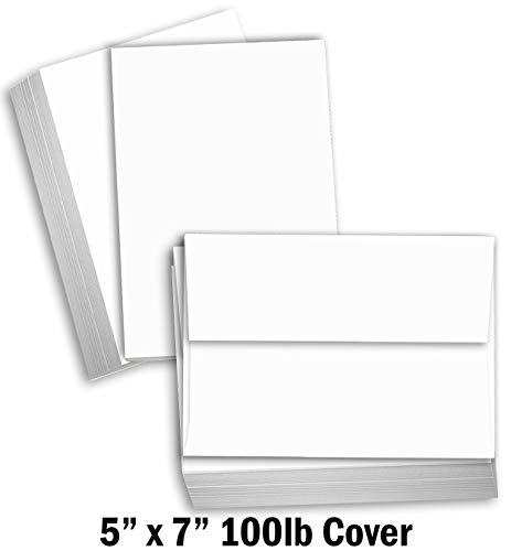 "Hamilco White Cardstock Thick Paper - Blank Index Flash Note & Post Cards with Envelopes - Greeting Invitations Stationary 5 X 7"" Heavy Weight 100 lb Card Stock for Printer (100 Pack - with Envelopes)"