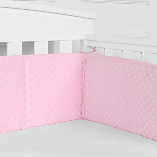 TILLYOU Baby Safe Minky Dot Crib Bumper Pads for Winter, Padded Plush Crib Liner for Standard Cribs, Thick Padding for Nursery Bed, Silky Soft/Warm/Comfortable Protector de Cuna, 4 Piece/Pink