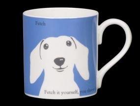 (Silhouette Portrait Dachshund Dog Bone China Mug Fetch Fetch It Yourself Stoke On Trent England Blue)
