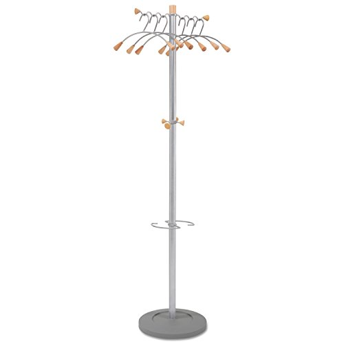 - Alba PMWAVE Wavy Coat Tree, Six Hangers/Two Knobs/Four Hooks, Silver Steel/Wood