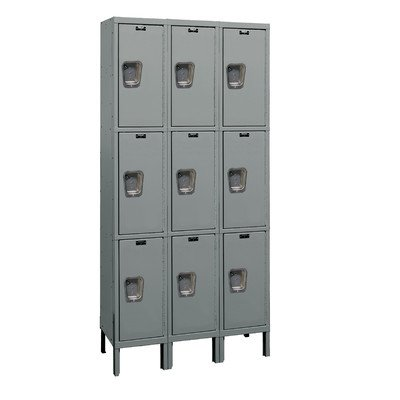 Hallowell UY3258-3A-HG Maintenance Free Quiet KD Metal Locker, Assembled, 3-Wide Grouping, 3 Tier, 24