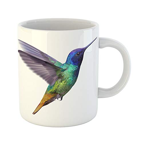 Tailed Tropic Bird - Emvency Coffee Tea Mug Gift 11 Ounces Funny Ceramic Hummingbird Golden Tailed Sapphire of Flying Colorful Glossy Plumage Gifts For Family Friends Coworkers Boss Mug