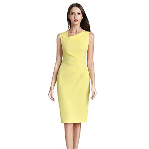 Sunhusing Ladies Sexy Solid Color Sleeveless Slim Business Pencil Skirt Dress Summer Casual Bag Hip Dress Yellow