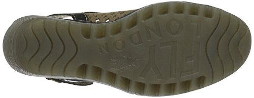 Fly London Womens Yuti734fly Lädersandals Khaki / Svart