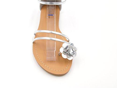 Damen Zehenring Sandaletten Blume Strass Römersandalen Riemchen Schuhe (8464) Silber Metallic