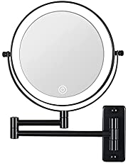 LED Wall Mounted Lighted Makeup Mirror 10X Magnifying Mirror Double Sided with 3 Color Lights, Touch Screen Dimming, Extension Bathroom Vanity Mirror 8 Inch