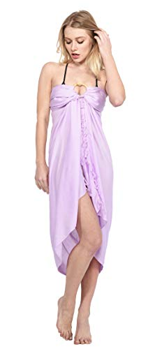 - Cheeu Swimsuit Cover ups for Women Beach Cover up Sarong Swimsuit Cover-up Many Colors to Choose with Bamboo Bangles Lavendar