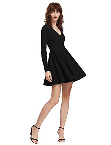 OEUVRE Women's Sexy V-neck Pleated Skater Party Dress (Medium, Black1)