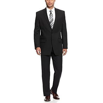 Hot Alfani Black Solid Stretch Wool Blend Two Button New Men's Suit Set for sale