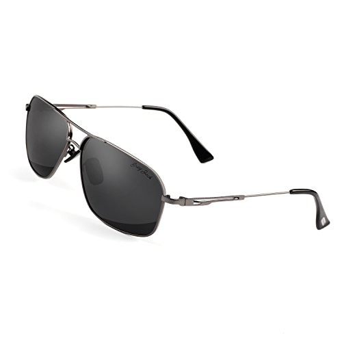 GREY JACK Polarized Large Classic Aviator Sunglasses Rectangular UV protection Lens for Men Women Grey Frame Black - Rectangular Aviator Sunglasses