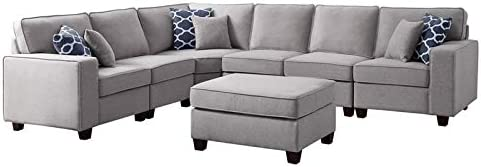 BOWERY HILL 7Pc Modular Sectional Sofa with Ottoman in Light Gray Linen Including 6 Accent Pillows