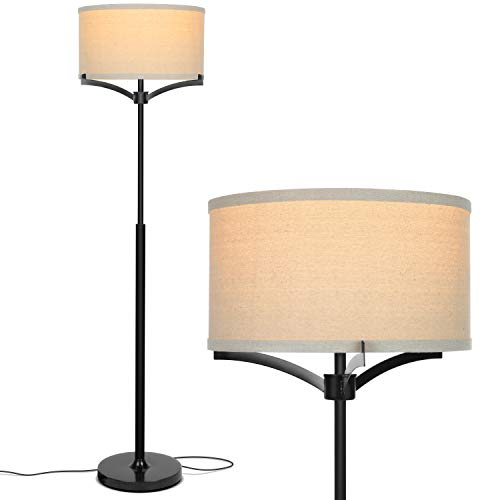 (Brightech Elijah LED Floor Lamp - Free Standing Pole Light for Living Room or Office - Modern Tall Reading Light with Drum Shade - LED Bulb Included - Black)