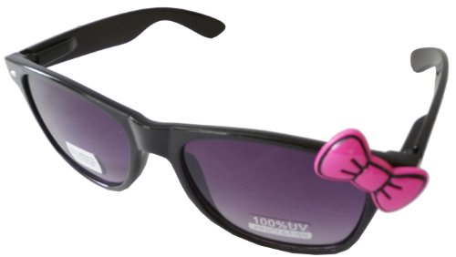Sanrio Hello Kitty Style Inspired Classic Wayfarer Sunglasses - Black Frame with Pink -