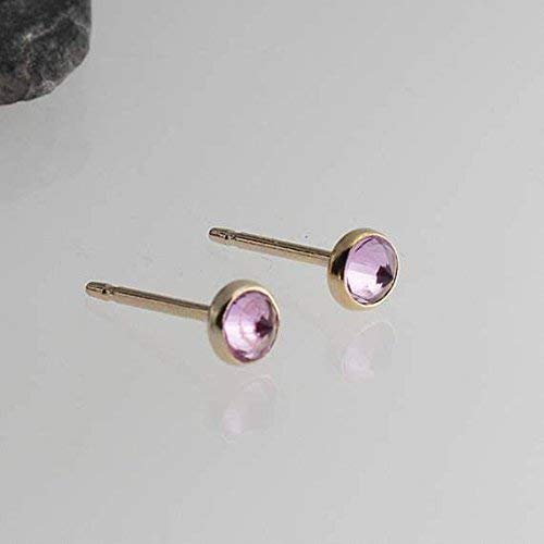 Gold Stud Earrings, Pink Tourmaline Stone Studs, Gold Studs, Dainty Earrings, Minimalist Earrings, Stud Earrings, Handmade Tiny Earrings 3mm (Faceted Art)