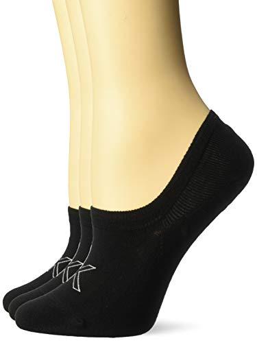 Calvin Klein Women's 3 Pack Cotton Logo Sneaker Liner Socks, Black, Shoe Size 6 - 9.5