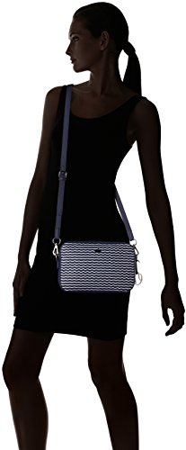 Lacoste NF1981DN, Sac Bandouliere Femme, Wave Peacoat White, 16.5 x 5 x 24.5 cm