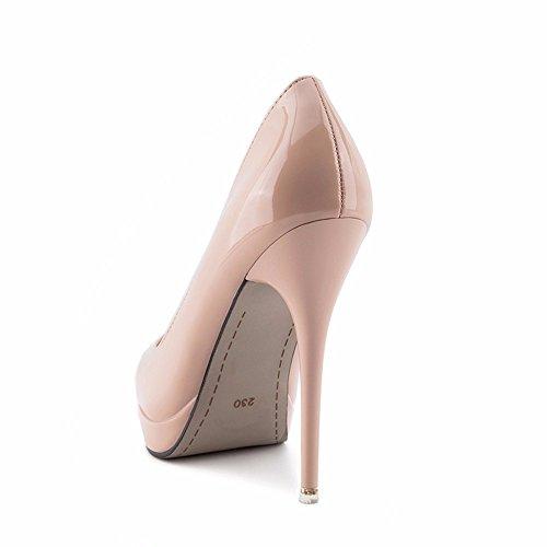 Simple Sharp de señoras Alto de Las YMFIE Sexy Laca Moda b Zapatos Sexy Zapatos Trabajo tacón Zapatos de nIwSqSAdx