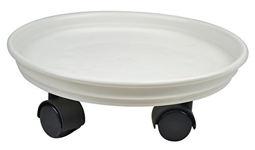 15.4'' Plant Stand Caddy,Round Plant Dolly Trolley Saucer Moving Tray Pallet on Wheels for Flowerpot,White,225 Count by Zhanwang