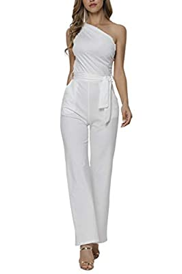 Veroge Women's Sleeveless One Shoulder High Waisted Long Jumpsuit with Belt