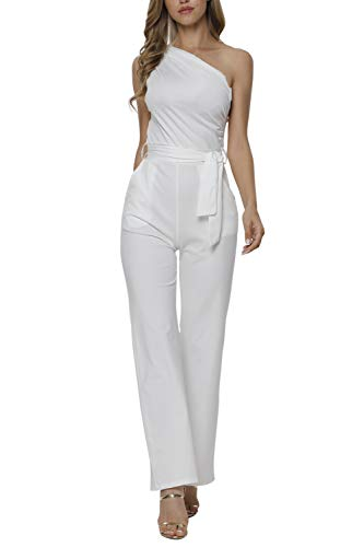 Veroge Womens Sleeveless One Shoulder High Waisted Long Jumpsuit with Belt
