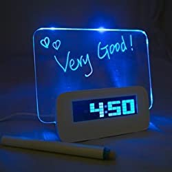 Krismile®New design 5 LED Message Board with Highlighter Digital Alarm Clock with 4 Port USB Hub (blue)