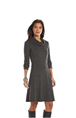 Chaps Women's Turtleneck Sweater Shift Dress, Gray Heather (Chaps Womens Dress)