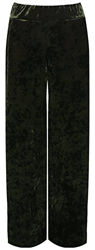 Rimi Hanger Women's Plus Velour Velvet Wide Flared Leg Pocket Palazzo Pants - Green - US 12-14 (Washable Velvet Womens Pants)