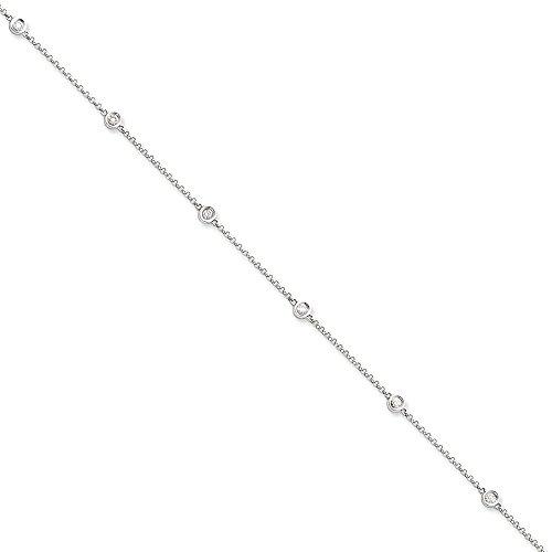 14K White Gold (0.37cttw) Diamond Rolo Anklet Bracelet -9