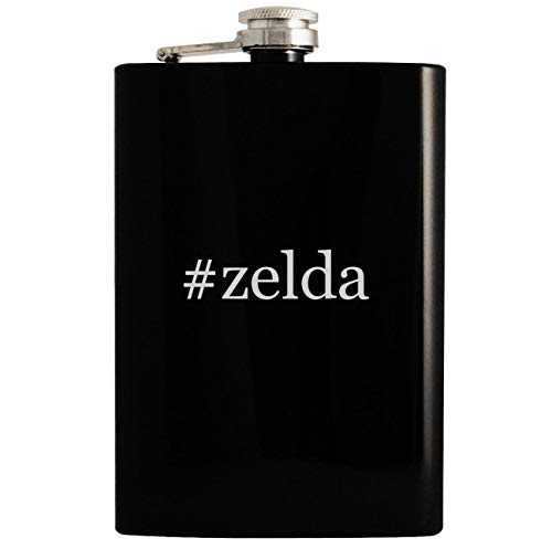 #zelda - 8oz Hashtag Hip Drinking Alcohol Flask, Black (Snes Zelda A Link To The Past Walkthrough)