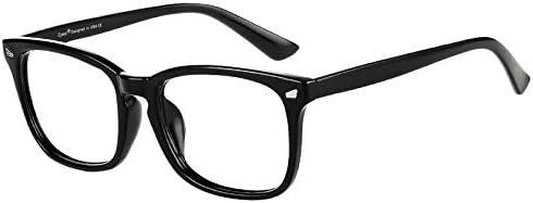 Cyxus Blue Light Filter Computer Glasses for Blocking Headache [Anti Eye Eyestrain] Transparent Lens Gaming Glasses, Unisex (Men/Women), Classic Black