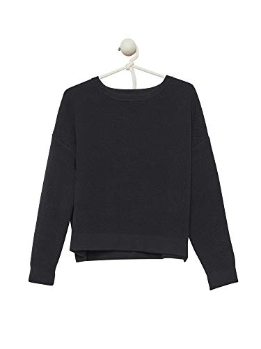 Cashmeren Women's Cotton Cashmere Oversized Crewneck Sweater Seed Stitch Square Knit Pullover (Small, Black)