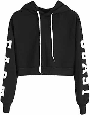 5591bcf61fbef Clearance Sale Women s Crop Hoodie Long Sleeve Letter Print Pullover  Sweatshirt