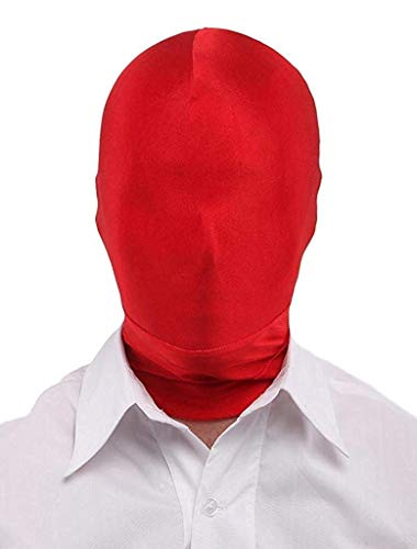 Sooleo Breathable Mask Hood Face Cover, Comfy Lycra Spandex Zentai Costume (Red) -
