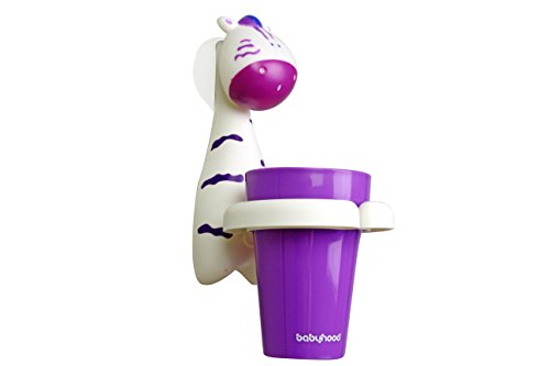 Excelity Cute Animal Child Kid Toothbrush Set with Toothbrush Rinse Cup and Holder Zebra