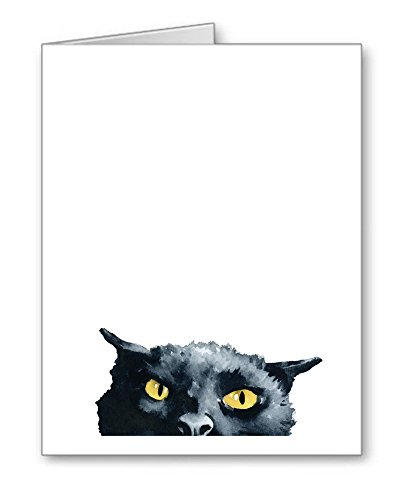 ''Angry Black Cat'' - Set of 10 Note Cards With Envelopes by DJ Rogers Fine Art