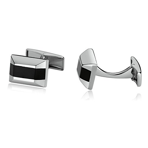 Black Lapis Cufflinks - MoAndy Stainless Steel Cuff Links for Mens Trapezoidal Rectangle Zirconia Inlaid Silver Black