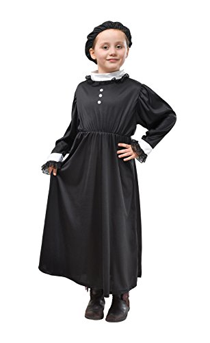134cm Black Girls Queen Victoria Costume (Girls Victorian Dress)