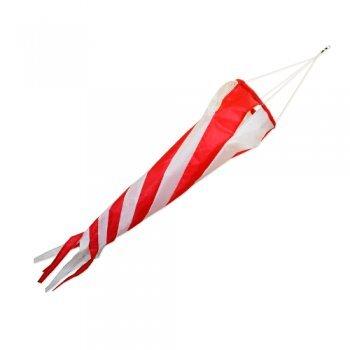 Windsack - Windturbine 90 RED/WHITE - UV-beständig und wetterfest - Ø20cm, Länge: 90cm - inkl. Kugellagerwirbelclip