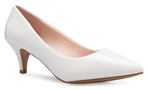 OLIVIA K Women's Classic D'Orsay Closed Toe Kitten Heel Pump - Casual, Comfort White